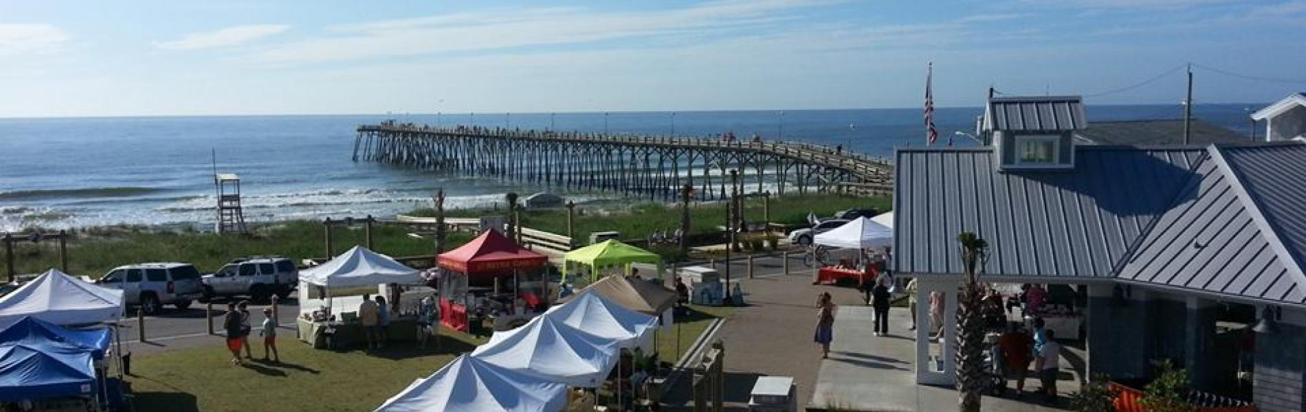 Ariel view of the Ocean Front Park with vendor booths