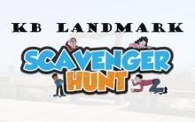 """""""KB Landmark Scavenger Hunt"""" text with 4 people searching for clues around the text"""